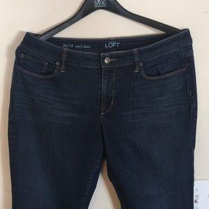 Loft Ann T dark stretch curvy boot jeans 32 14